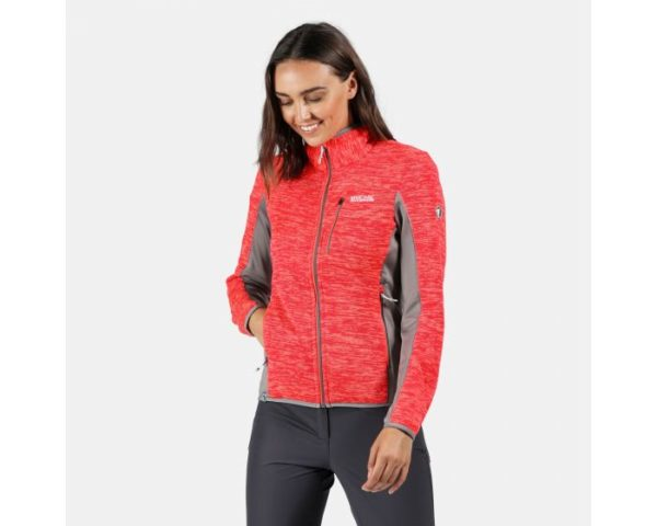 Women's Laney Vi Full Zip Stretch Fleece Fiery Coral Rock Grey loving the sales