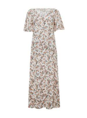 Womens Peach Floral Print Maxi Dress