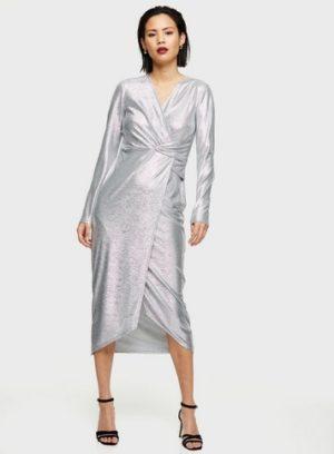 Womens Silver Metallic Twist Midi Dress