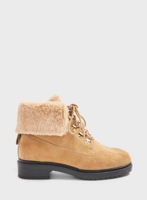Womens Wide Fit Boston Tan Faux Fur Hiker Boots