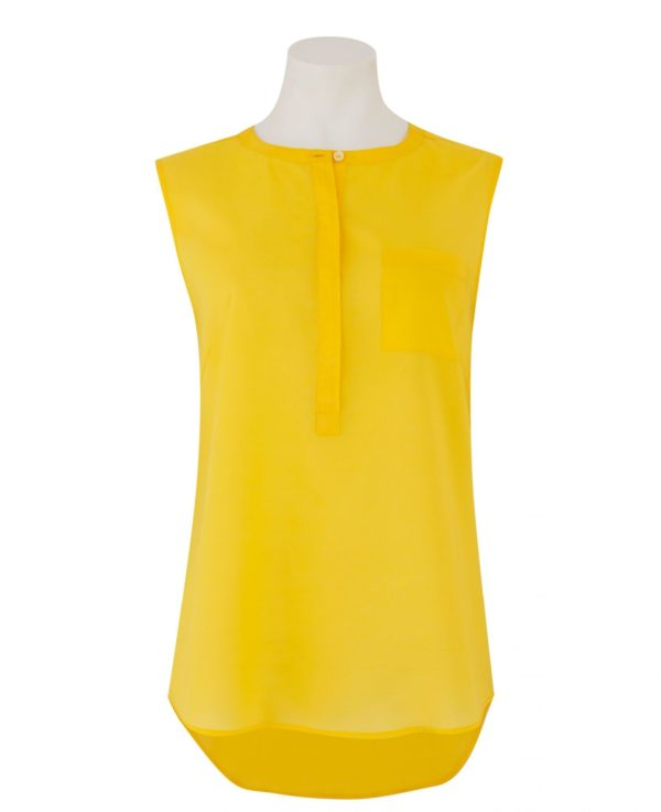 Women's Yellow Collarless Sleeveless Shirt 16 loving the sales