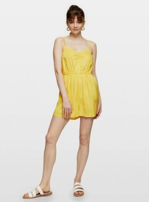 Womens Yellow Spot Ruched Playsuit