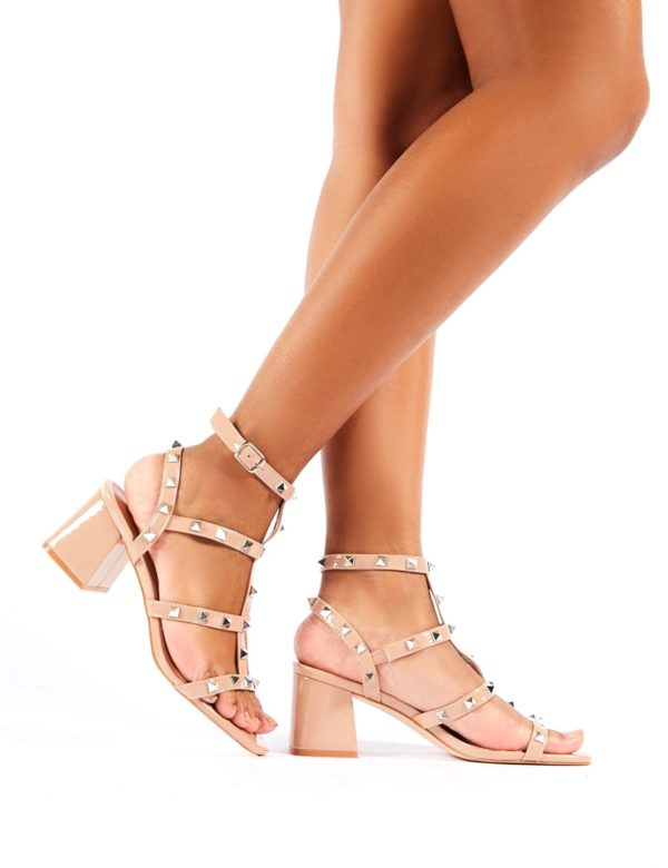 Always Studded Strappy Block Mid Heels  Patent