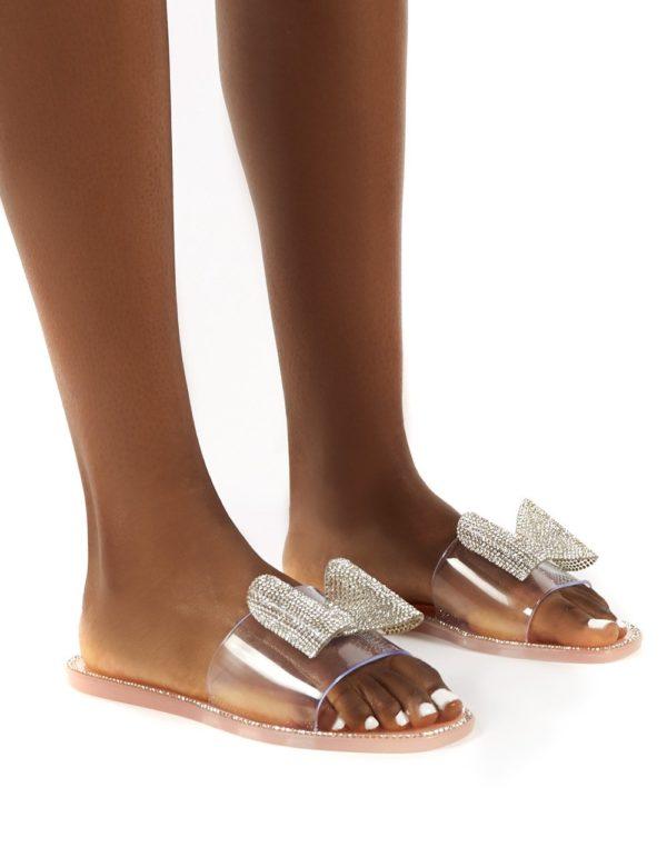 Bobbie Blush Perspex Diamante Detail Bow Flat Sandals