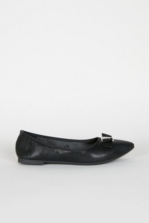 Black Bow Pointed Ballerina Pump Shoe