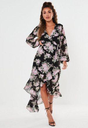 Black Floral Wrap High Low Midi Dress loving the sales