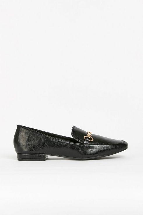 Black Gold Buckle Loafer