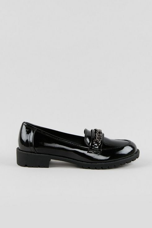 Black Patent Chain Detail Loafer
