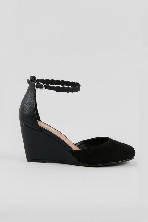 Black Scallop Trim Wedge Heels