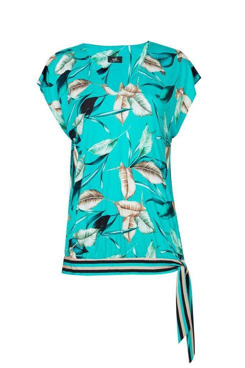 Blue Leaf Print Tie Side Top