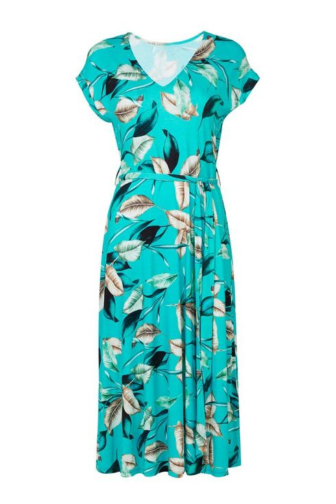 Blue Palm Print Midi Dress