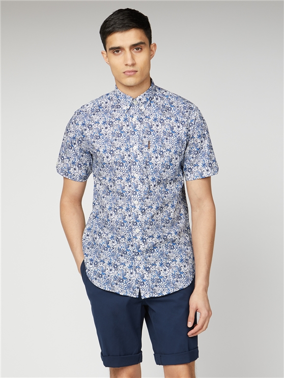 Blue Short Sleeved Formal Print Shirt | Ben Sherman | Est 1963 - Large loving the sales