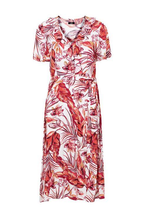 Blush Floral Print Ruffle Midi Dress