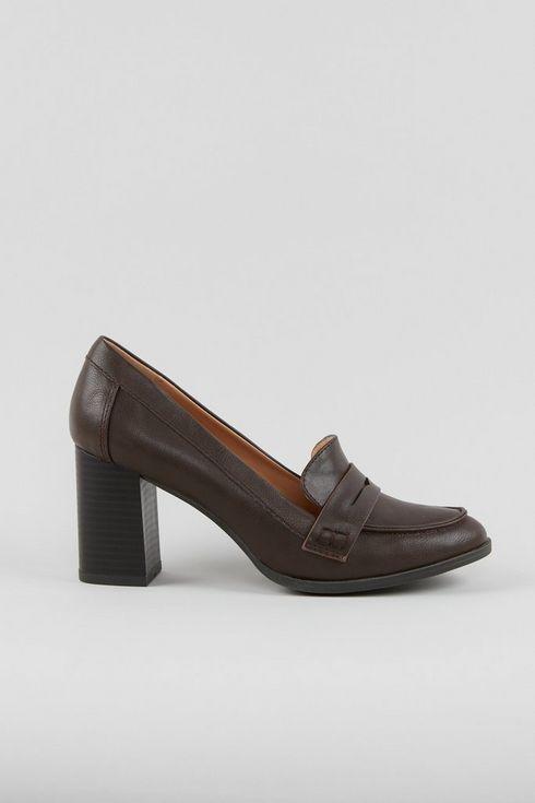 Brown Heeled Loafer
