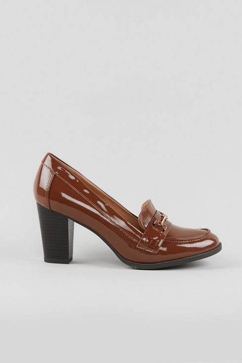 Brown Patent Heeled Loafer