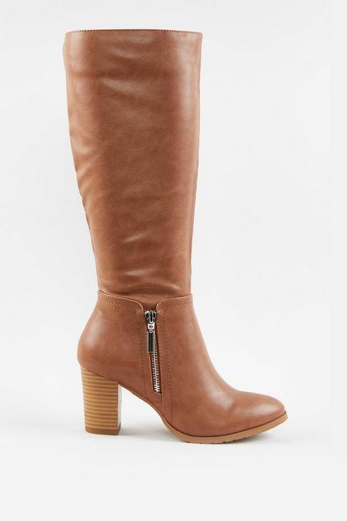 Camel Side Zip High Leg Boot