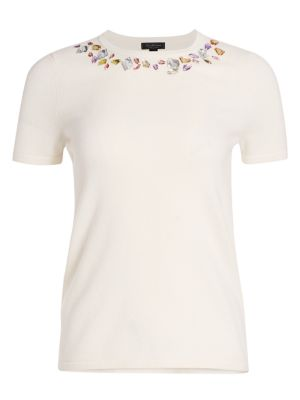 Collection Cashmere Embellished Short Sleeve Sweater loving the sales
