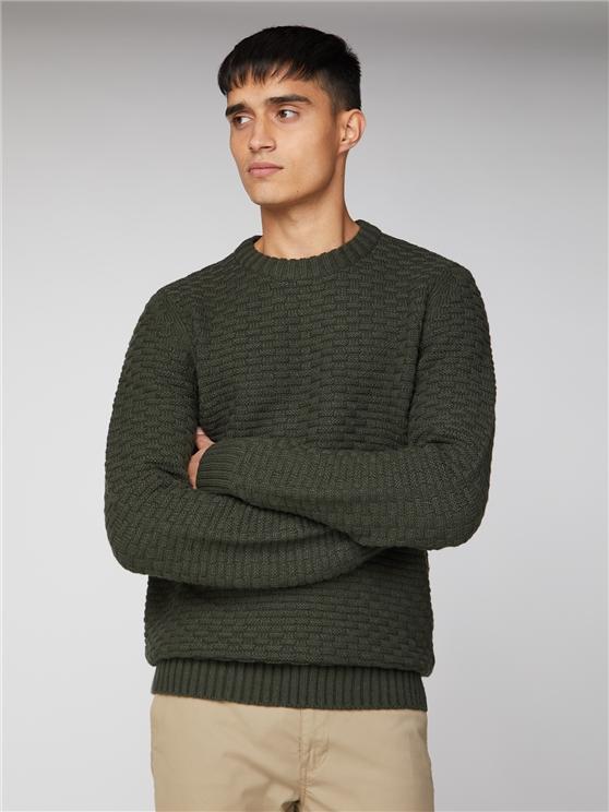 Forest Green Textured Crew Neck Sweater   Ben Sherman   Est 1963 - 4xl loving the sales