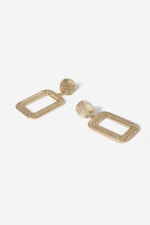 Gold Hammered Square Drop Earrings