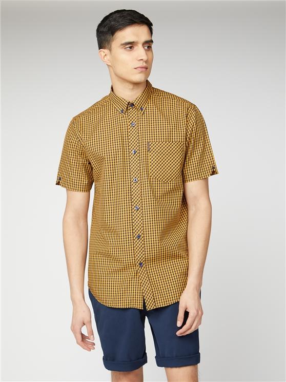 Gold & Navy Short Sleeve Gingham Shirt | Ben Sherman | Est 1963 - 4xl loving the sales