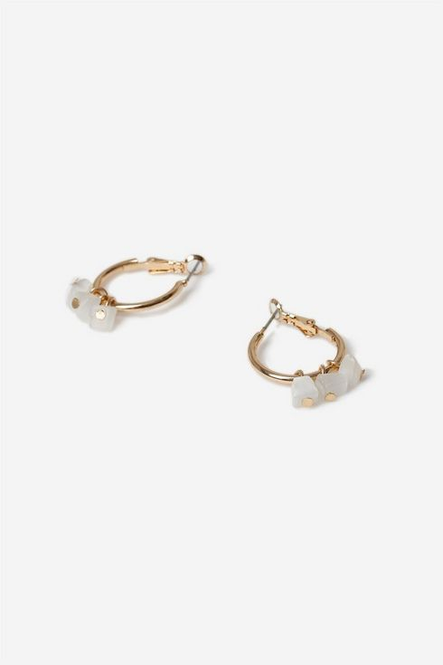 Gold Stone Hoop Earring