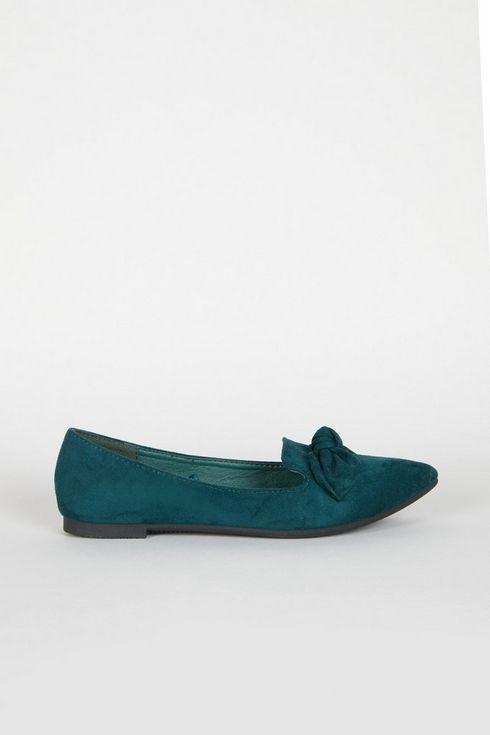 Green Bow Detail Ballerina Shoe