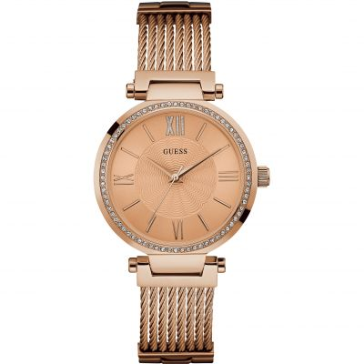 Guess Ladies Rose Gold Watch With Crystal Detailing And Rose Gold Wire Bracelet. loving the sales