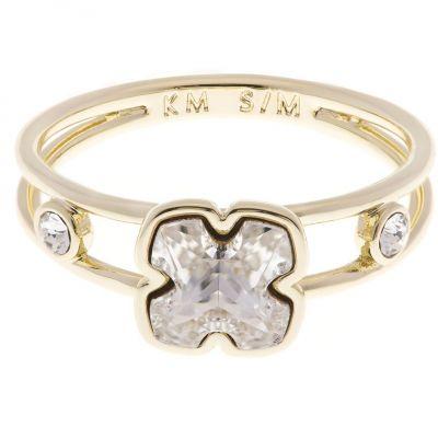 Ladies Karen Millen Gold Plated Art Glass Flower Ring Size Ml loving the sales