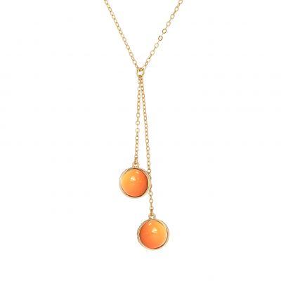 Ladies Karen Millen Logo Cabochon Double Drop Necklace loving the sales