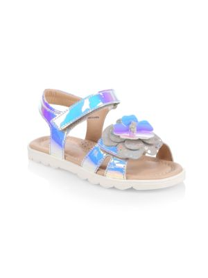 Little Girl's & Girl's Floral Irredescent Leather Sandals loving the sales