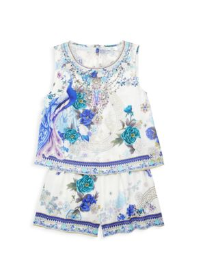 Little Girl's & Girl's White Side Moon Layer Playsuit loving the sales