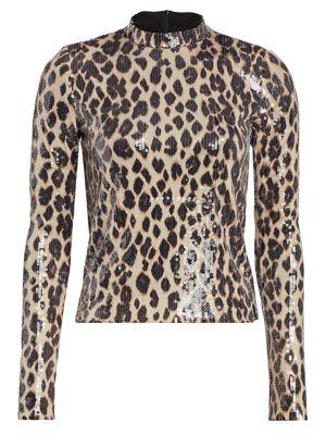 Marshall Sequin Leopard Print Mockneck Top loving the sales