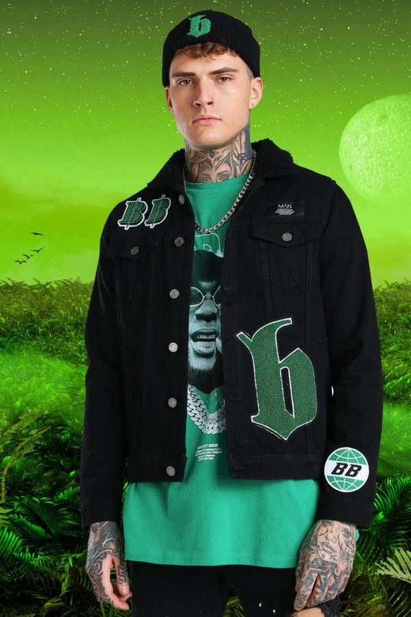 Mens Black Burna Boy Borg Collar Denim Jacket With Badges loving the sales