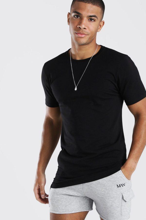 Mens Black Longline Muscle Fit T-Shirt loving the sales