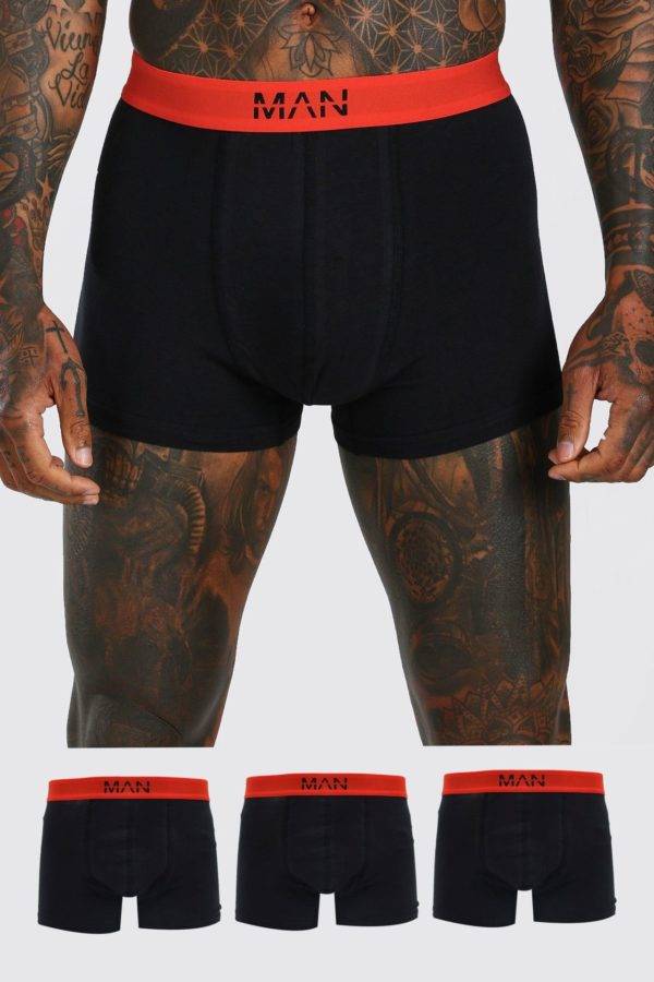Mens Black Man Dash 3pk Boxer With Contrast Waistband loving the sales