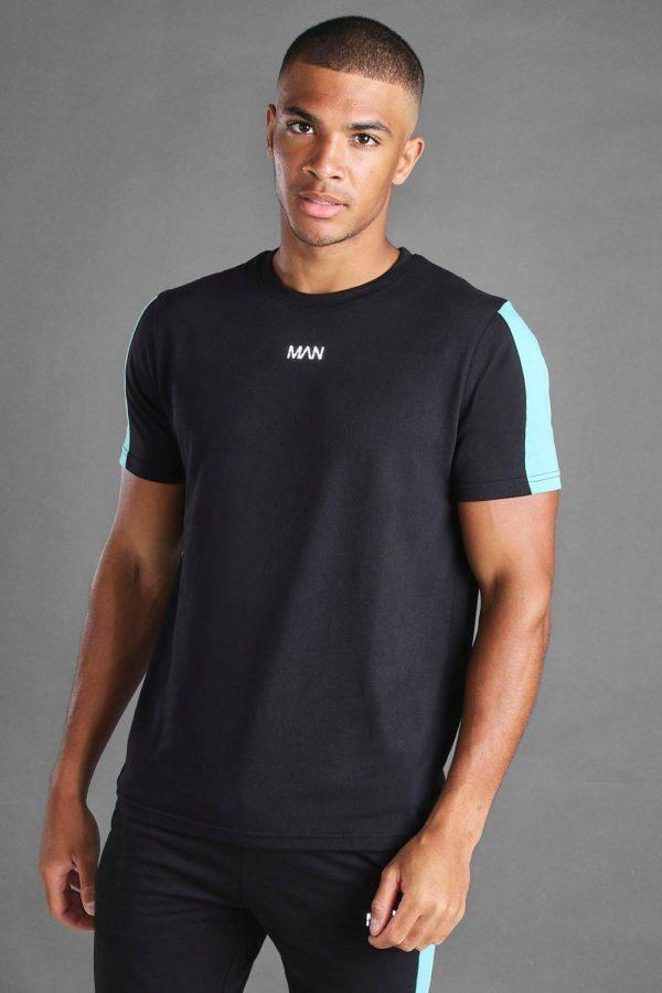 Mens Black Man Short Sleeve T-Shirt With Sleeve Panel loving the sales