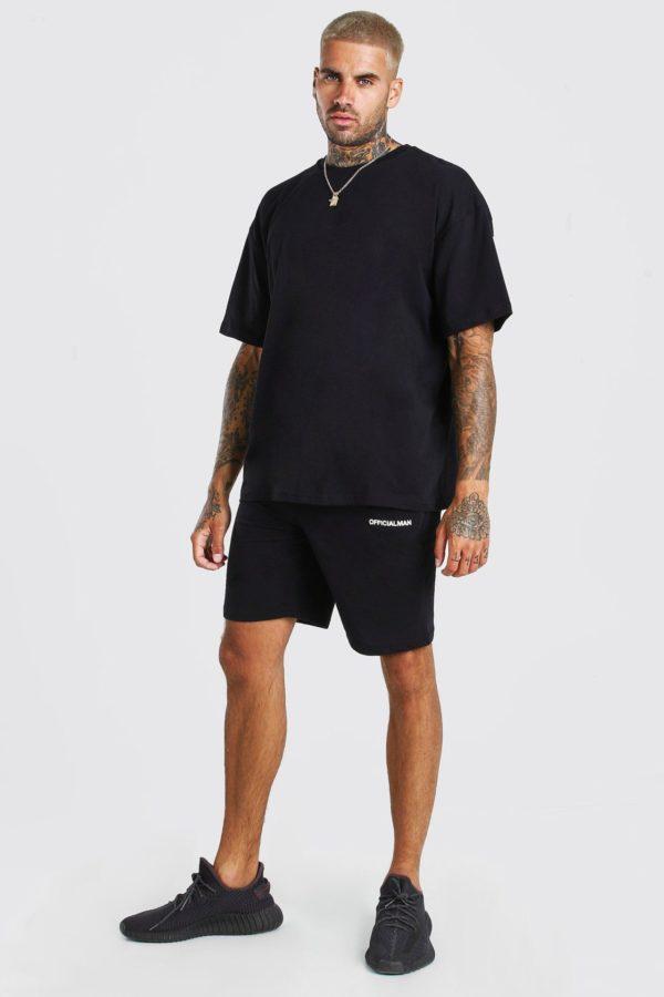 Mens Black Oversized Official Back Print T-Shirt & Short Set loving the sales