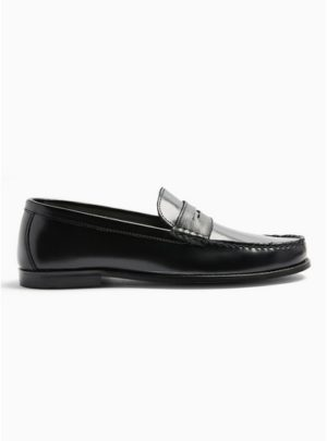 Mens Black Real Leather Loafers