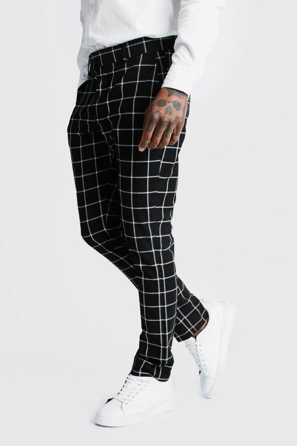 Mens Black Windowpane Check Smart Formal Trouser loving the sales