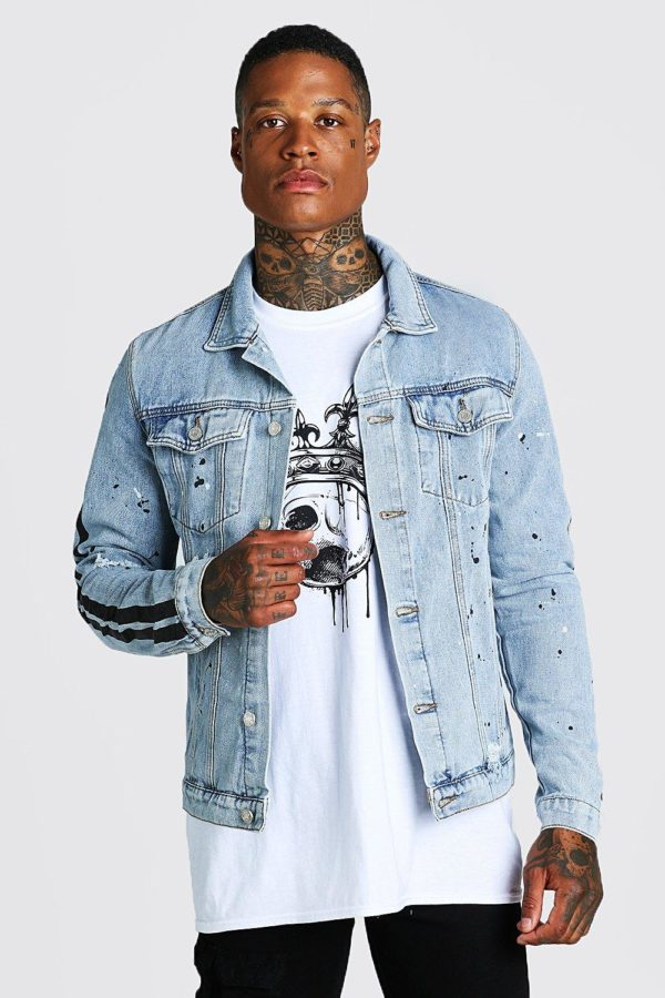Mens Blue Rip And Repair Denim Jacket With Paint Detail loving the sales