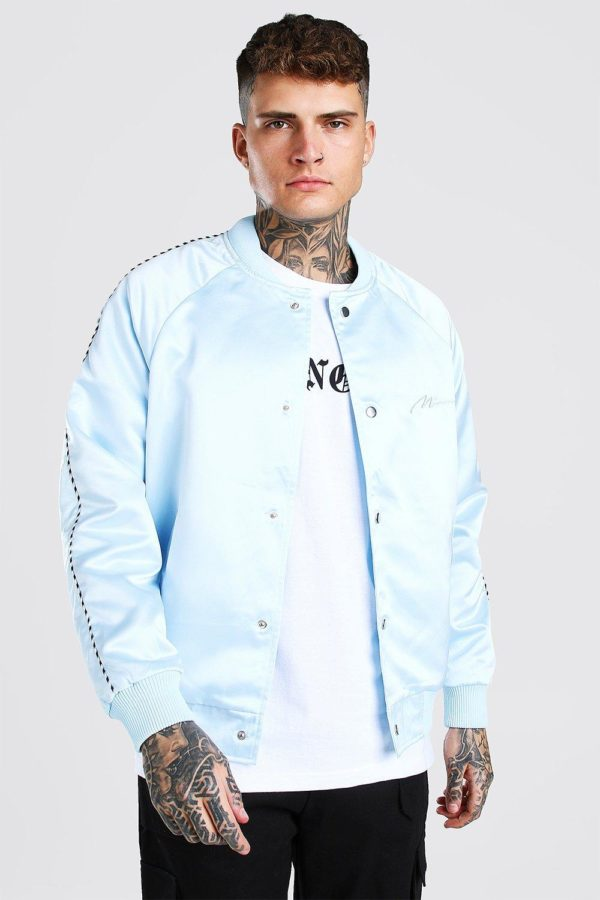 Mens Blue Satin Bomber Jacket With Chest Man Embroidery loving the sales