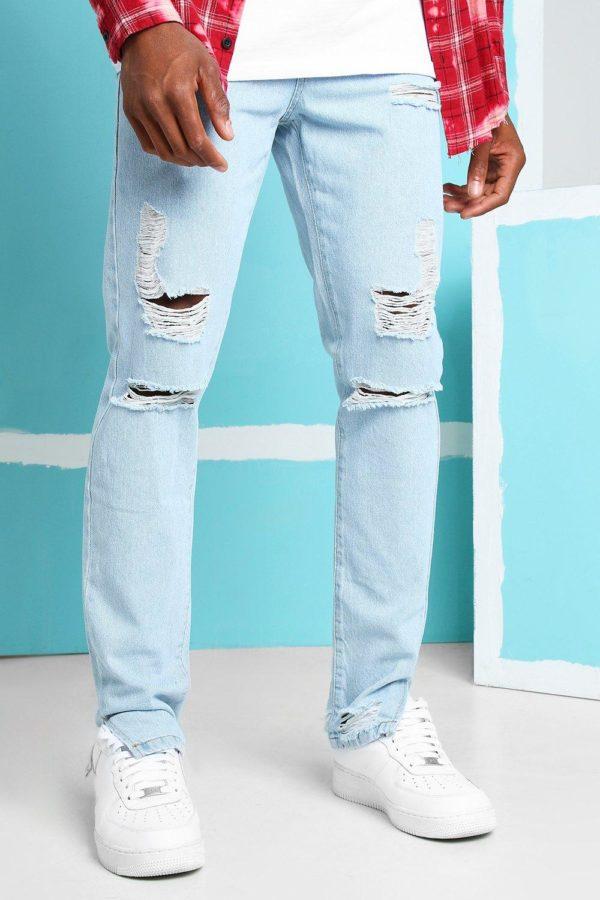 Mens Blue Skinny Rigid Split Hem Jeans With Knee Rips loving the sales