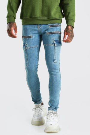 Mens Blue Super Skinny Stretch Cargo Jean With Zips loving the sales