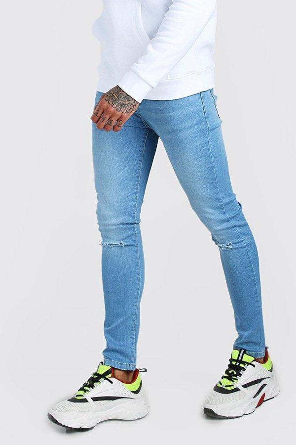 Mens Blue Super Skinny Washed Ripped Knee Denim Jean loving the sales