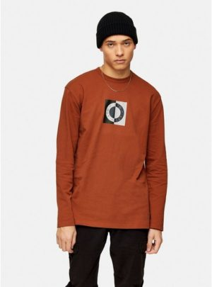 Mens Brown Topman Ltd Rust Circle Logo Long Sleeve T-Shirt