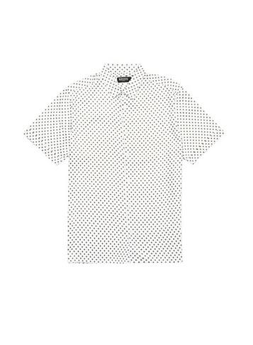 Mens Burton White Satin Mini Geometric Print Shirt