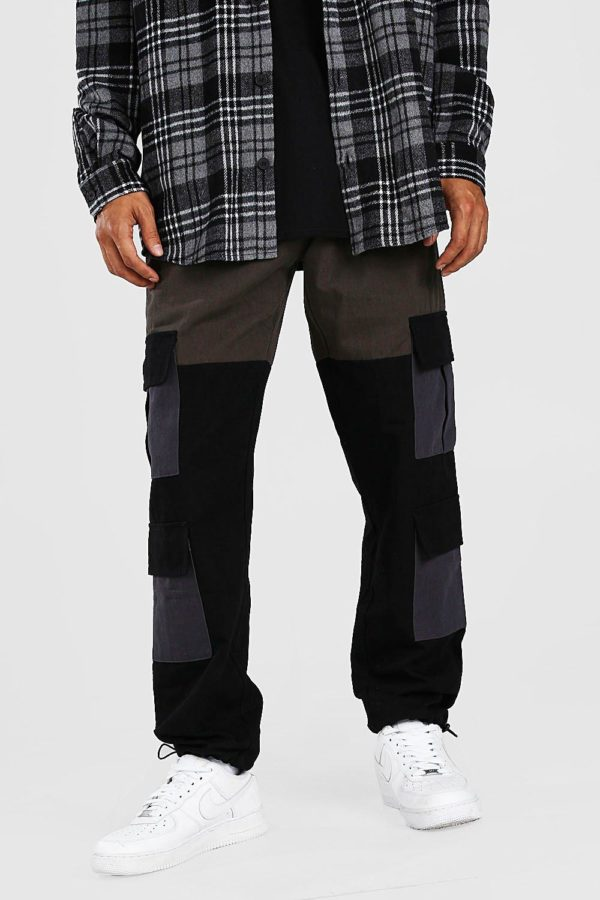 Mens Green Colour Block Cargo Trouser With Bungee Cord Cuff loving the sales