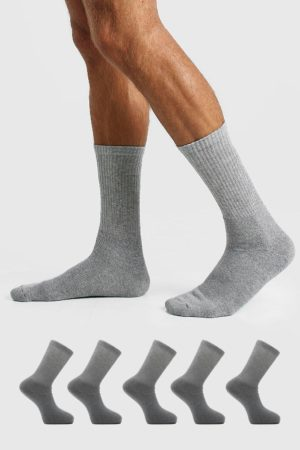 Mens Grey 5 Pack Plain Sport Socks loving the sales