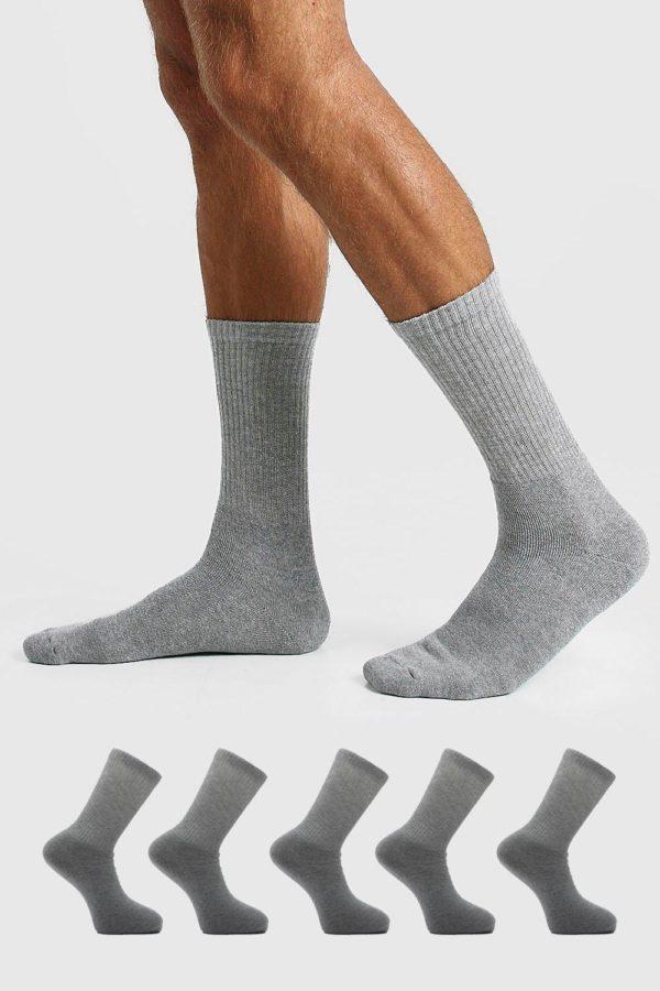 Mens Grey 5 Pack Plain Sport Socks loving the sales