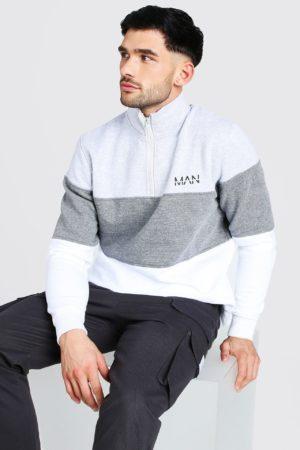 Mens Grey Original Man Colour Block Funnel Neck Sweatshirt loving the sales